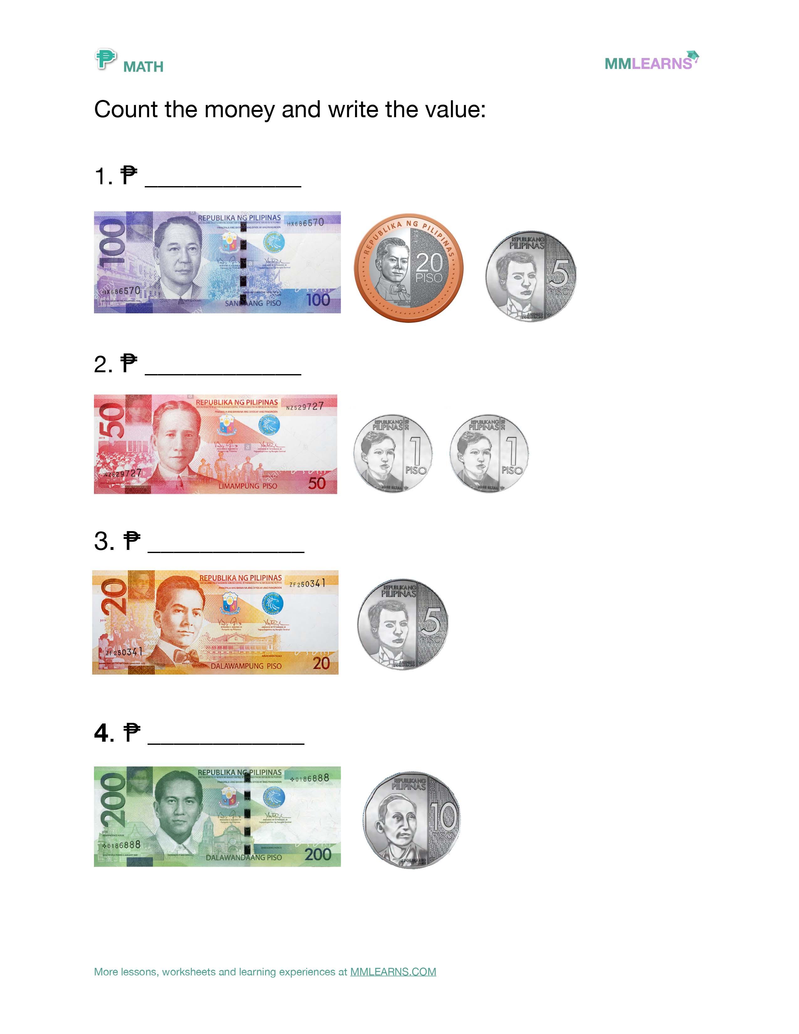 Math: Philippine Currency / Money Lessons and Worksheets [ 1024 x 791 Pixel ]