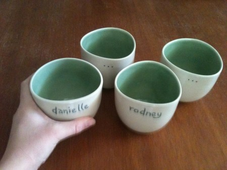 A set of personalised cupping cups