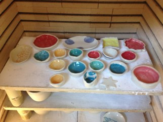 The most colourful shelf in the kiln!