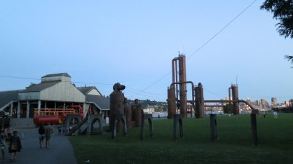Seattle Gasworks Park. Seattle used to run on gas power! and now these remains stand in remembery -- like metal giants lumbering round the bay.