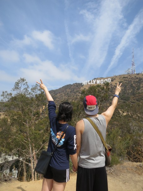 hiking up to the Hollywood sign! and then copying some German girls' pose for a touristy pic.