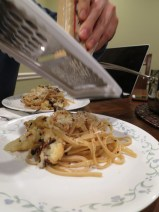 new year's resolution Intentional and Fancy Meal #1: roasted cauliflower fettuccine, check
