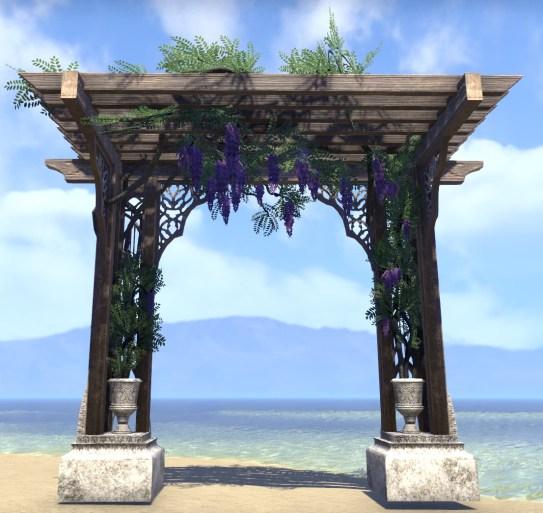 High Elf Pergola, Purple Wisteria Overhang
