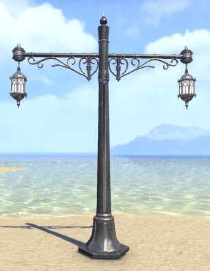 High Elf Streetlight, Paired Wrought Iron