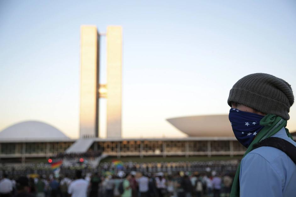 Demonstrators protest against the Confederations Cup and the government in Brasilia