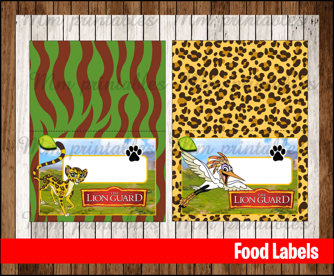 80 Off The Lion Guard Food Tent Cards Instant Download