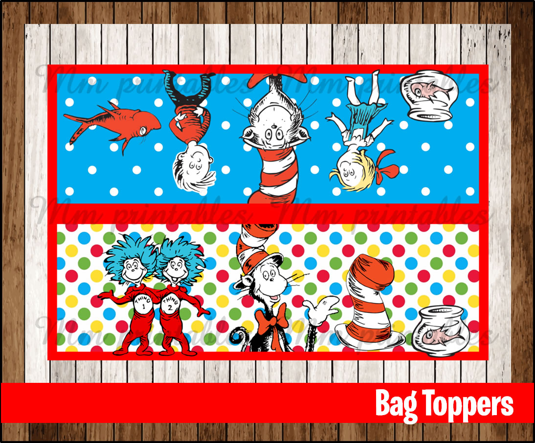 80 Off Sale Cat In The Hat Party Toppers Instant Download