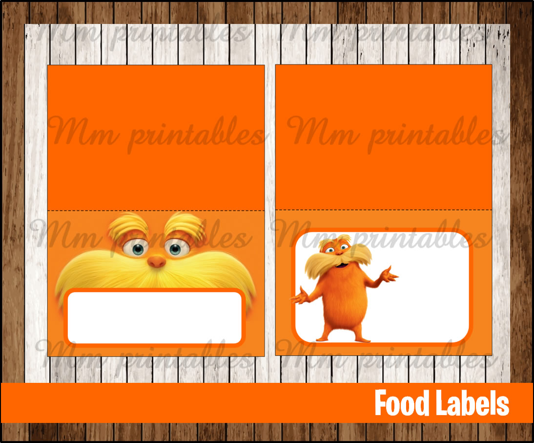 80 Off Sale The Lorax Food Tent Cards Instant Download