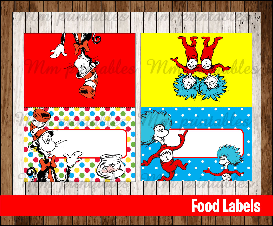 80 Off Sale Cat In The Hat Food Tent Cards Instant