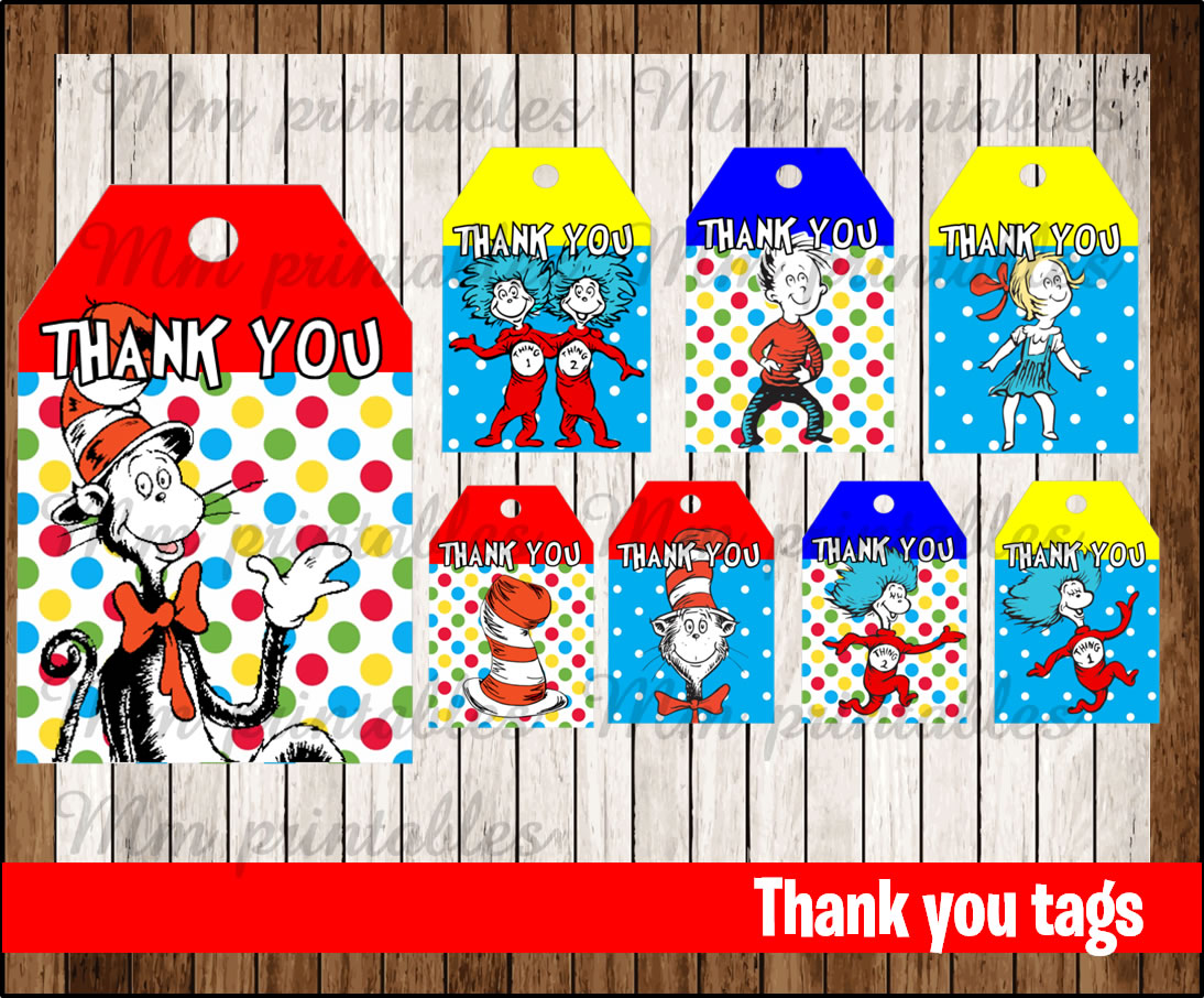 80 Off Sale Cat In The Hat Thank You Tags Instant