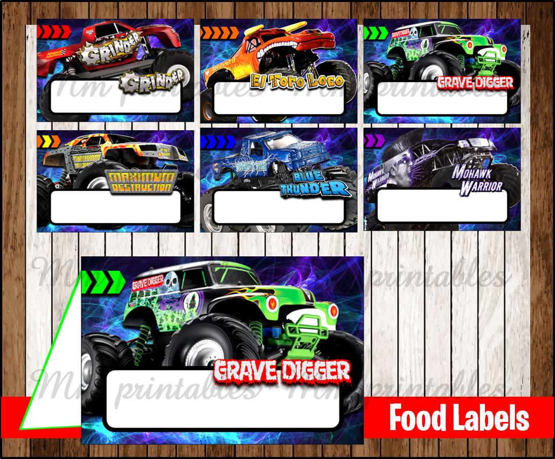 80 Off Sale Monster Jam Food Tent Cards Instant Download