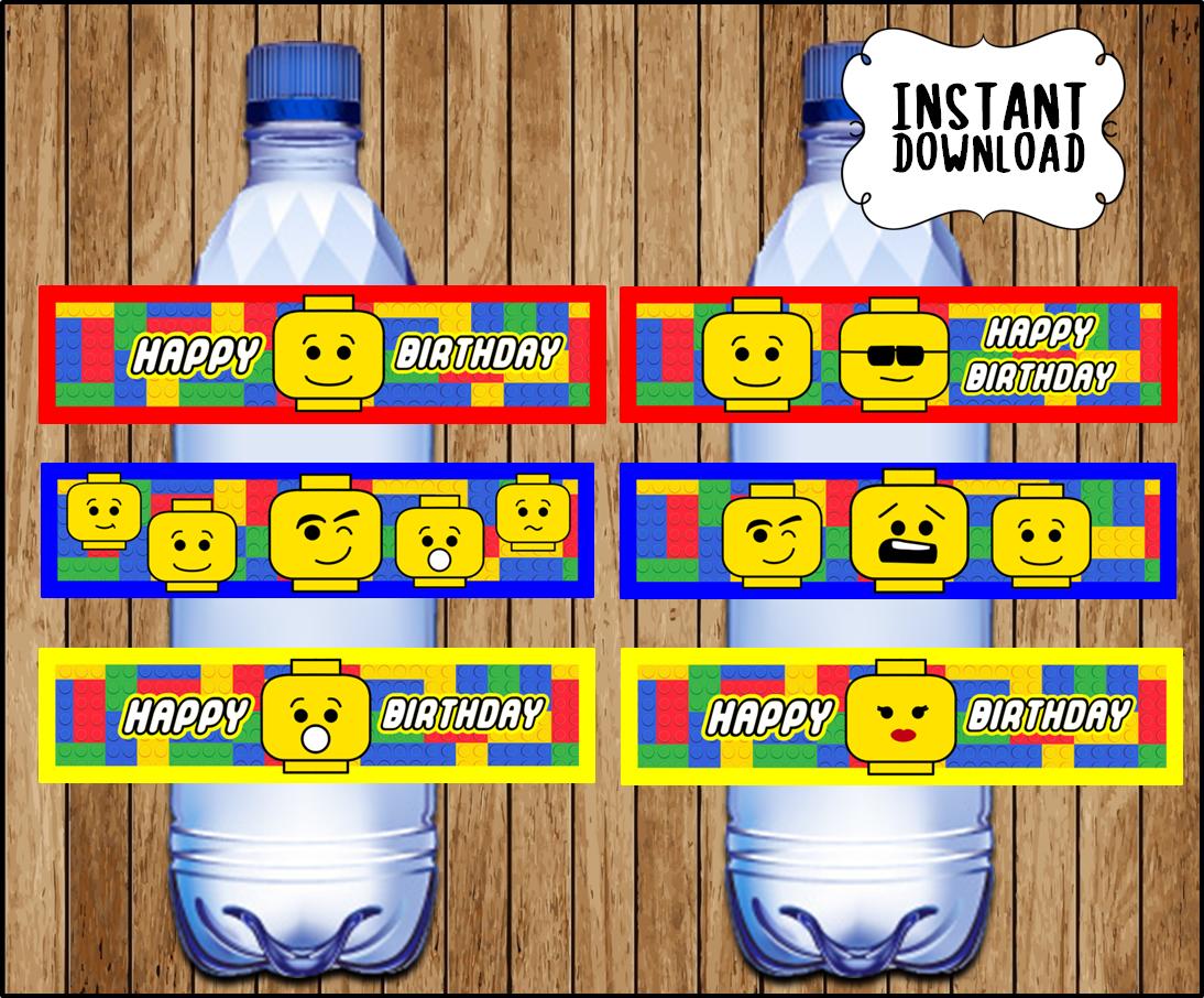 Printable Lego building blocks Water Bottle labels instant ...