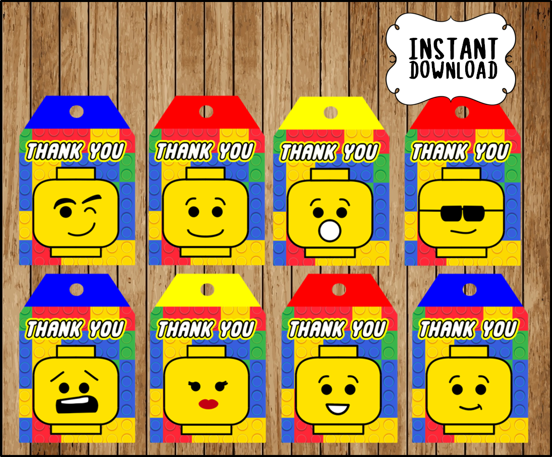 Printable Lego Building Blocks Thank You Tags Instant