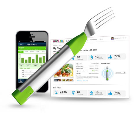 HAPIfork is the world's first connected fork. The personal technology tool monitors how fast people eat and helps them slow down
