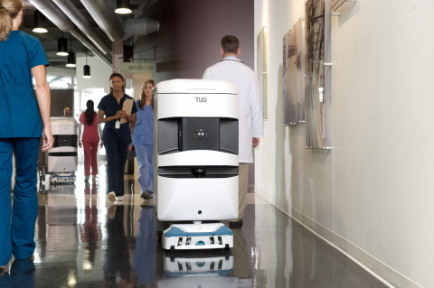 Aethon TUG autonomous mobile robot automates delivery and material movement in hospitals. (Photo: Bu ...