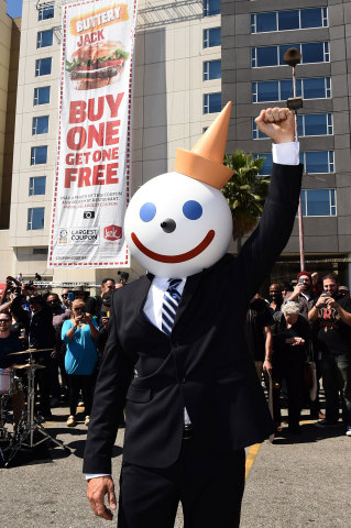 Fast food icon Jack, of Jack in the Box, makes a rare public appearance to celebrate capturing the G ...