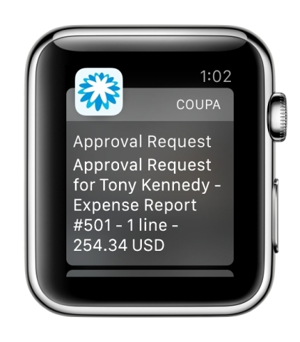 Coupa Expense Approval on Apple Watch (Photo: Business Wire)