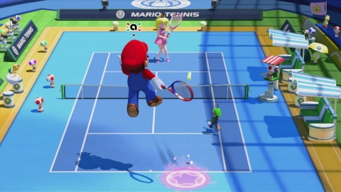 Mario and other residents of the Mushroom Kingdom head back to the tennis court on Nov. 20 in the Ma ...