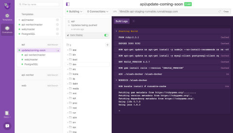 Runnable's user interface. Runnable gives each code branch its own isolated, full-stack environment  ...