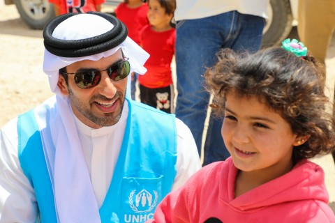Sheikh Sultan bin Ahmed Al Qasimi during his visit to Al Zaatari Refugee Camp (Photo: Business Wire)