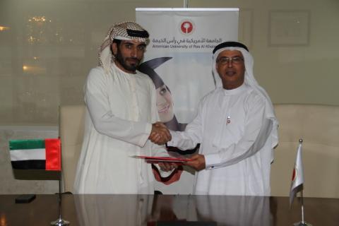 AURAK President, Prof. Hassan Hamdan Al Alkim, and Al Nuaimi Group CEO, Mr. Rashed Abdulla Ahmed, en ...