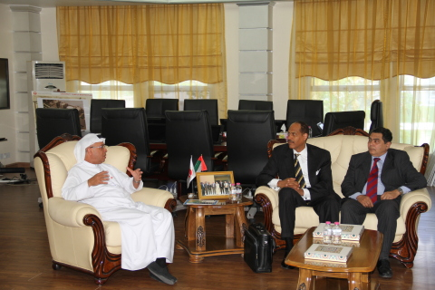 AURAK President, Prof. Hassan Hamdan Al Alkim, and AAAS Special Advisor, Albert B. Jones, discussing ...