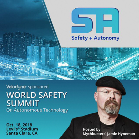 Velodyne LiDAR sponsors the World Safety Summit on Autonomous Technology, hosted by Jamie Hyneman, f ...