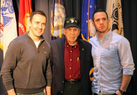 'Band of Brothers' Col. Edward Shames (center) poses for a photo with Robert Davies (left) and C.J. ...