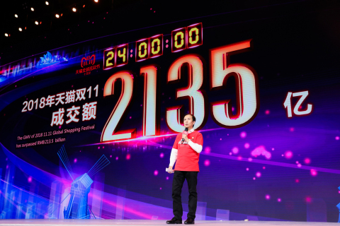 Alibaba Group CEO Daniel Zhang at Alibaba's 2018 11.11 Global Shopping Festival (Photo: Business Wir ...