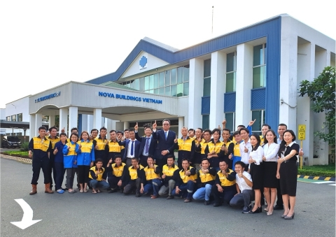 Nova Buildings Vietnam team at Bien Hoa site.(Photo: Business Wire)