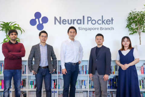 Neural Pocket Inc., a leading Japanese edge-AI solution provider, has launched its first overseas branch in Singapore to accelerate efforts across Southeast Asia. The company provides solutions in areas such as smart cities, mobility, digital signages, and fashion and currently serves government agencies, real-estate infrastructure companies, retailers, manufacturers, and logistic companies globally. Global CEO, Roi Shigematsu (center); Singapore President and Global CSO, Ryosuke Tane (right to center); Global COO, Han Zhou (left to center) (Photo: Business Wire)