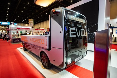 EVO.1 - a fully autonomous all-electric/hydrogen truck developed and manufactured by Evocargo, unmanned logistics service provider, that started to offer its services in Europe, UK and Middle East in 2021. (Photo: Business Wire)