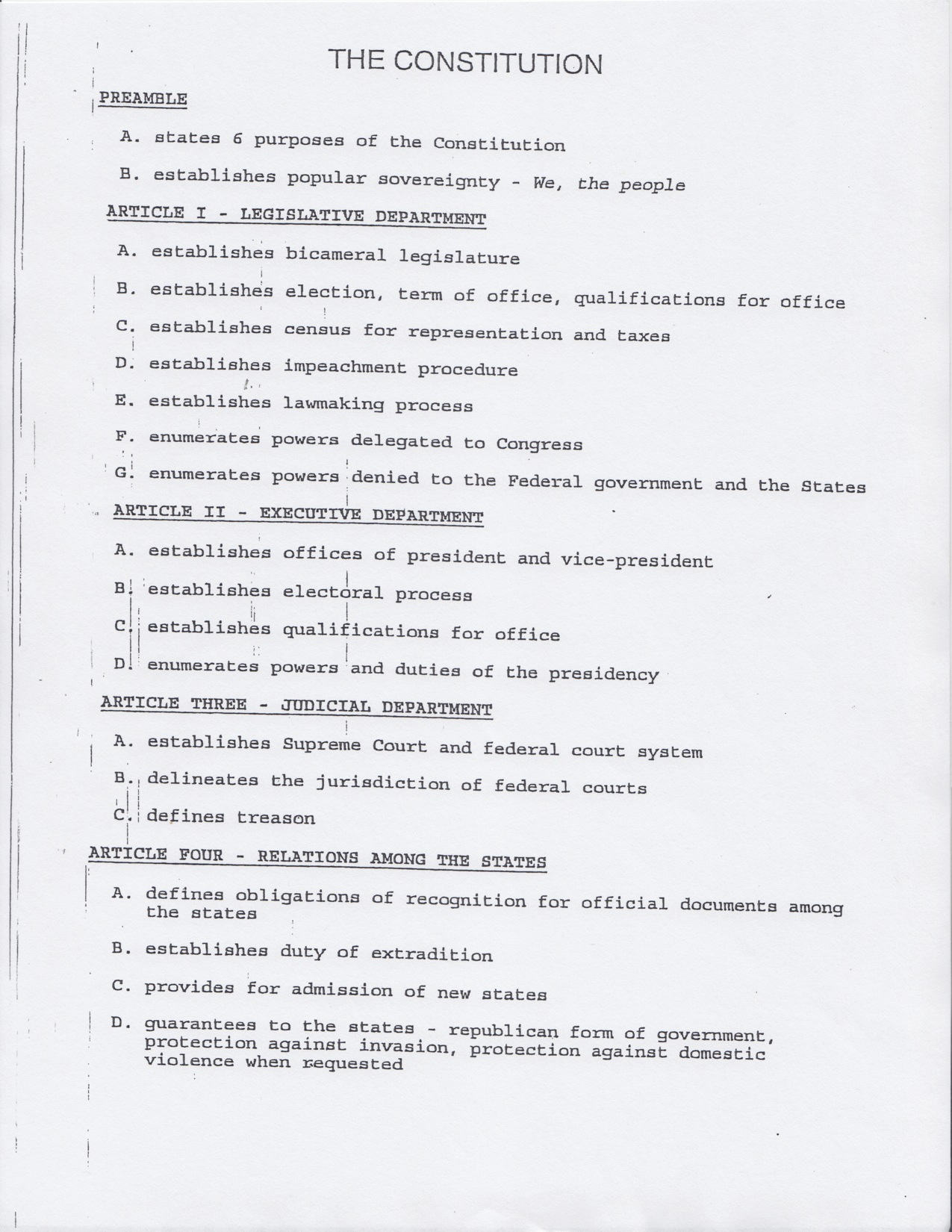 Us Constitution Article 2 Worksheet
