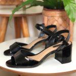 Sandália Feminina Preta Básica de Verniz e Salto Baixo Nova Coleção Primavera Verão Loja Online Mm Store Shoes Moda e Tendência calçadista (10)