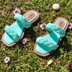 Sandália Rasteira Feminina Lemon com Detalhes de PreVerde Menta Confortável Coleção Verão de Calçados Femininos Loja Online MM Store Shoes