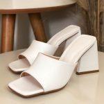 Tamanco Feminino Branco de Salto Triângulo Coleção Primavera Verão Moda e Tendência em Calçados Femininos Loja Online MM Store Shoes (19)
