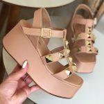 Anabela Flatform Feminina Bege Rosada com Detalhes de Taxas Em formato de Pirâmides Nova Coleção Primavera Verão Loja Online MM Store Shoes (28)