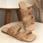 Rasteira Feminina com Detalhes em Palha Bico Quadrado Coleção Primavera Verão Moda e Tendência em Calçados Femininos Loja Online MM Store Shoes (25)