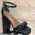 Sandália Feminina Preta de Salto Médio bloco com Detalhe de Trança confortavel Nova Coleção Primavera Verão Loja Online MM Store Shoes (29)