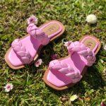 Sandália Rasteira Feminia de Tranças Rosa Leve e Confortaveis Nova Coleção Verão Loja Online MM Store Shoes Moda e Tendencia calçadista (4)