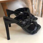 Tamanco Feminino Preto de Salto Alto Fino com Detalhes de Tranças Confort Coleção Verão Calçados Femininos com o Melhor preço Loja Online MM Store Shoes (1)