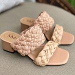 Tamanco Feminino Bege de Salto Bloco Baixo e Detalhes em Tranças Tendência da Moda Conforto e Estilo Loja Online MM Store Shoes (6)
