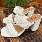 Tamanco Feminino Branco de Salto Bloco e Detalhes em Tranças Tendência da Moda Conforto e Estilo Loja Online MM Store Shoes (12)