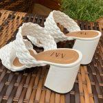 Tamanco Feminino Branco de Salto Bloco e Detalhes em Tranças Tendência da Moda Conforto e Estilo Loja Online MM Store Shoes (8)