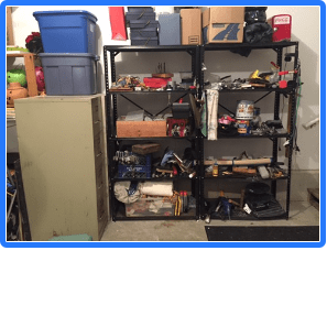 tools and shelves and rust and unorganization
