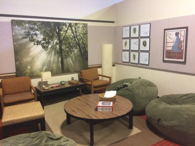 The relaxation room (just look at those nice fluffy beanbag chairs)