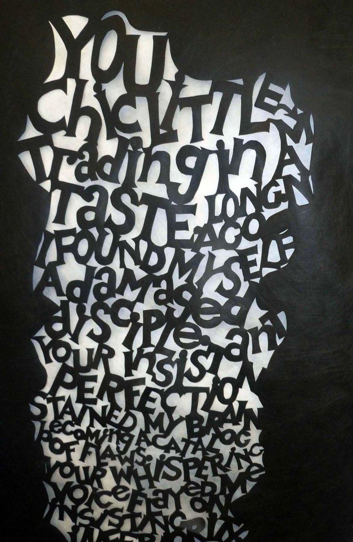 """Black Tyvek cutting First stanza of my poem Chic Little Man 30"""" x 40"""""""