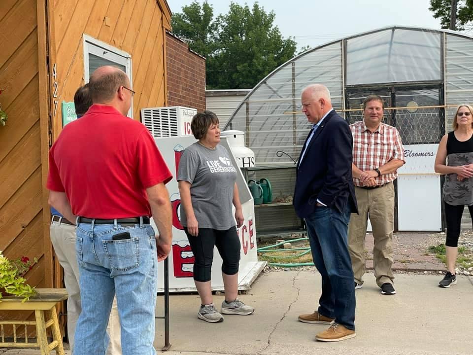 Gov Walz, State Rep Fischbach, Sen Westrom & Rep Backer Visit Clinton Minnesota
