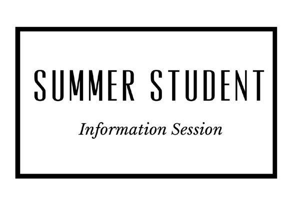 Summer Student Information Session
