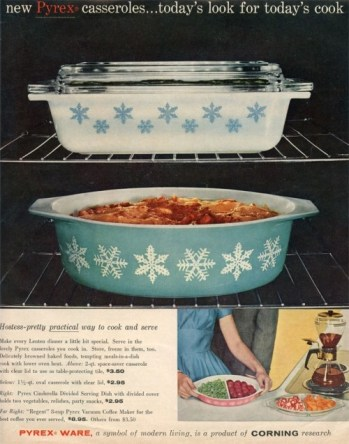 Casserole dishes from Pyrex, 1950's.